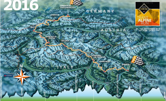 Mapa de la Transalpine Run
