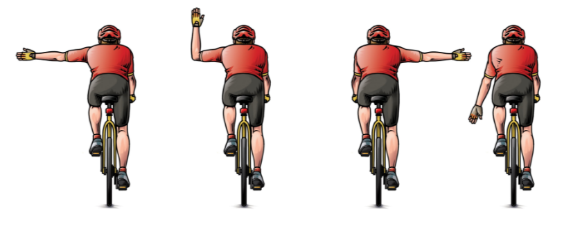 Indica con tus brazos tus maniobra cuando circules en bici por ciudad