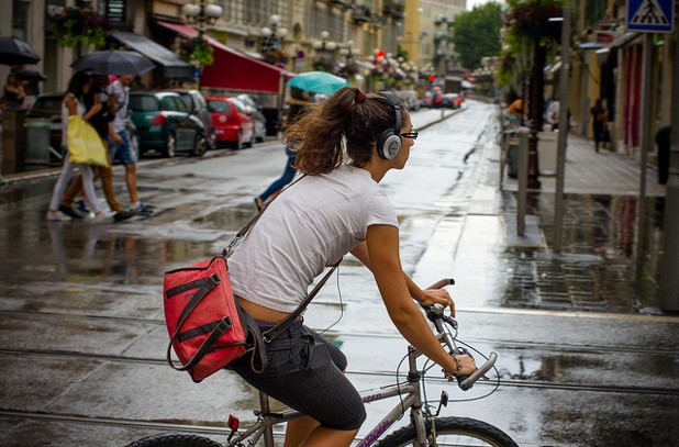 Avoid listening to music while on your bike