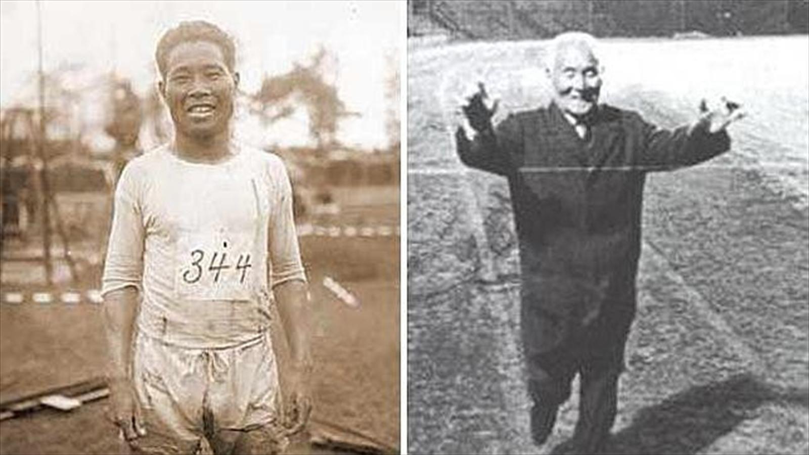 Shizo Kanakuri vor und nach dem Beenden des Marathon Laufes.