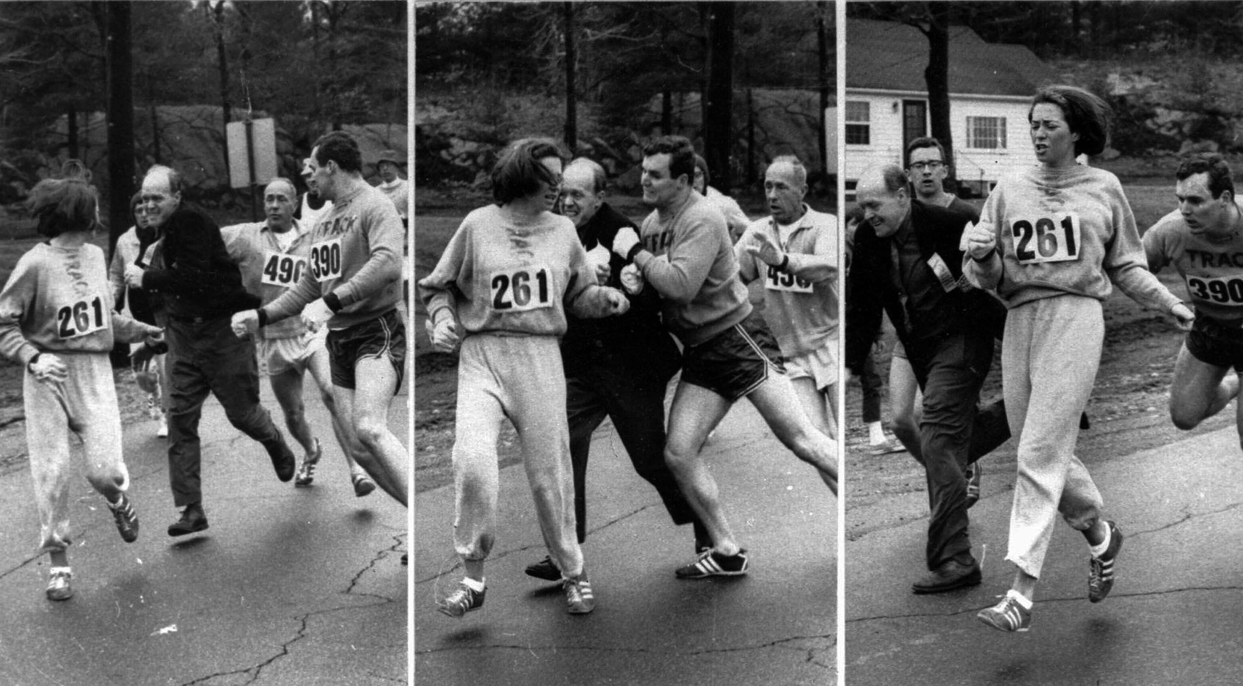 Katherine Switzer beim Boston Marathon als man versuchte sie an der Teilnahem zu hindern.
