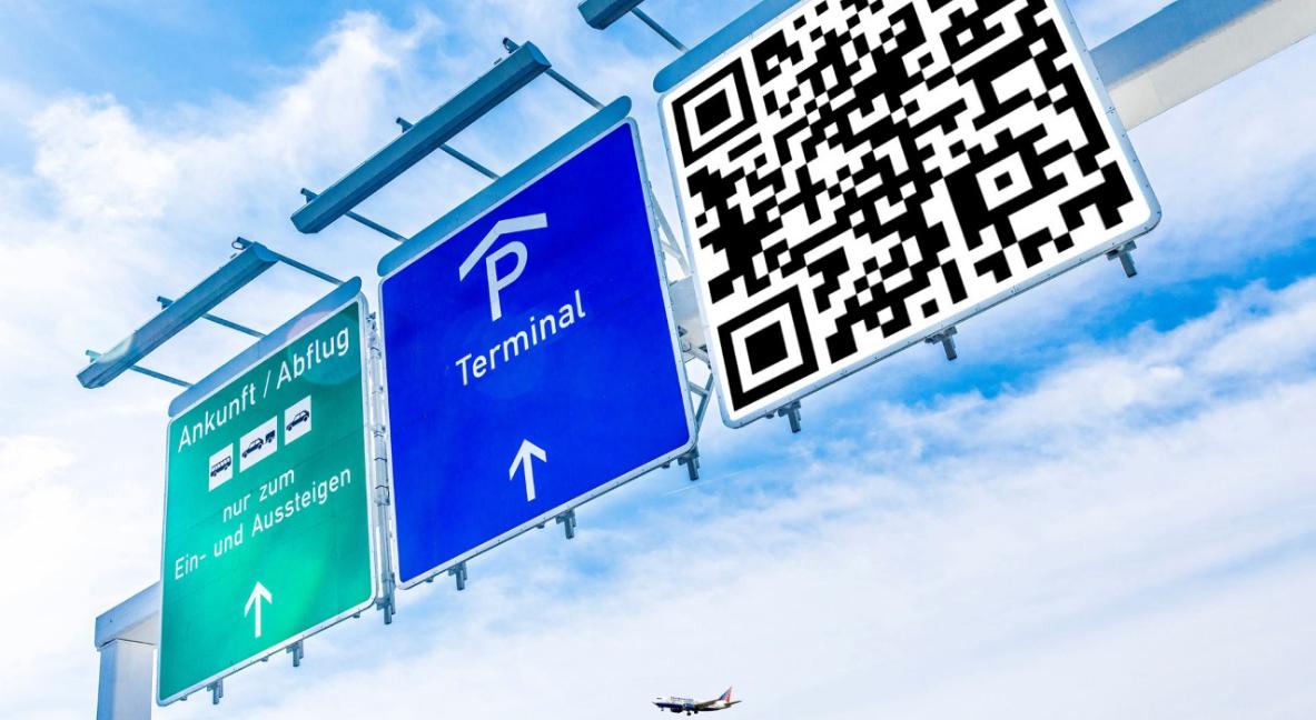 A menudo vemos códigos QR en aeropuertos