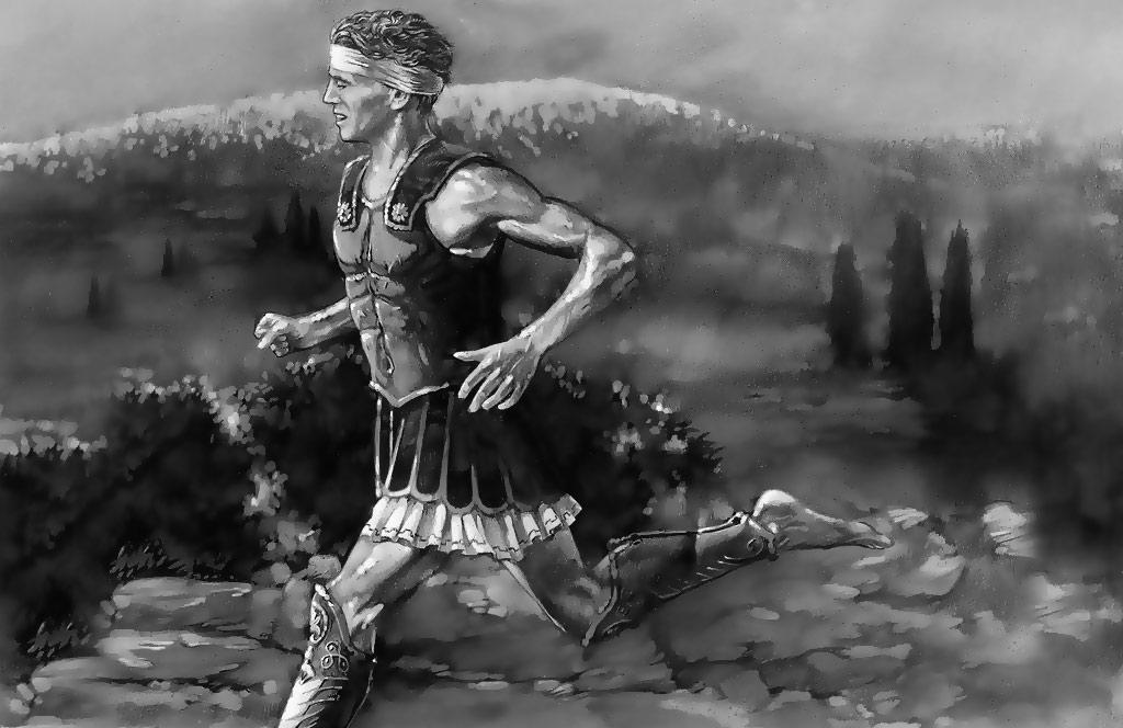 Representación de Filípides corriendo la primera marathon...sin saberlo