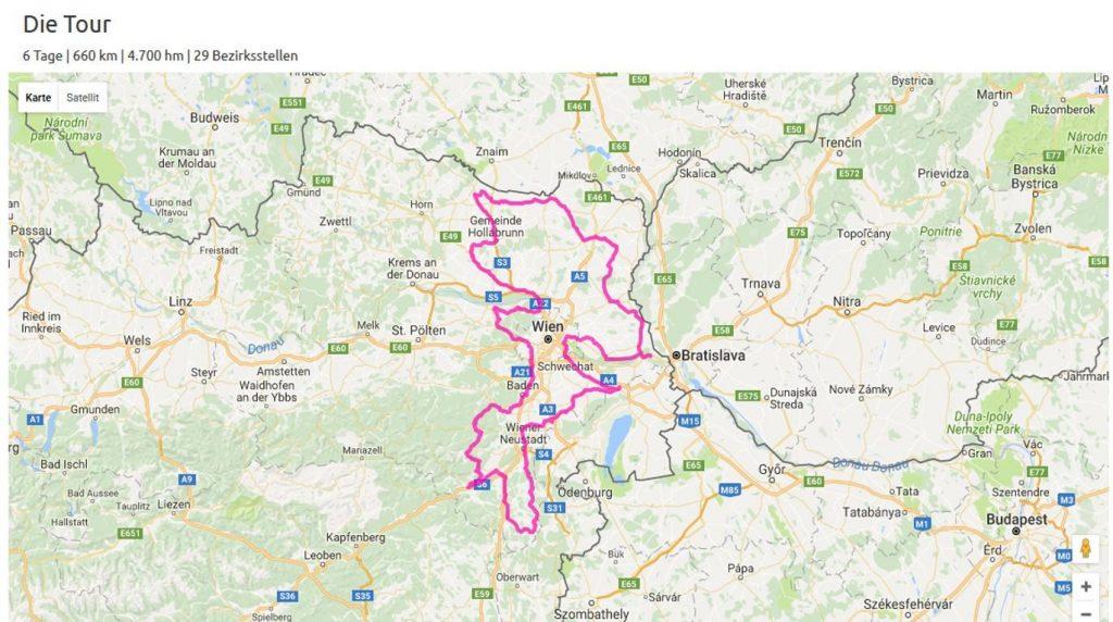 Streckenverlauf der bike4kids Charity Radtour